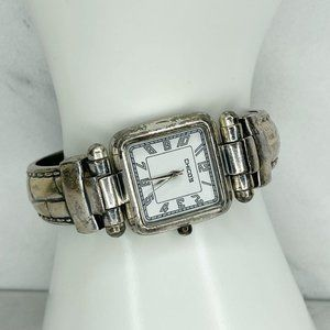 Chico's Silver Tone Hinge Bangle Bracelet Watch Needs Battery